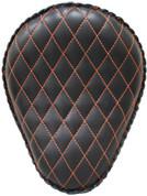 """13"""" baSICK Leather Solo Seat - Black with Orange Stitched Diamond Tuk"""