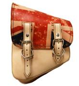 All Harley Davidson Softail Models Left Side Leather Saddle Bag - with Printed UK Flag