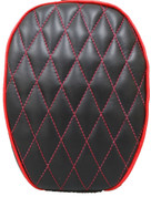 La Rosa Design 2004 and UP Harley Sportster Passenger Seat - Black Leather with Red Accents Diamond Tuk