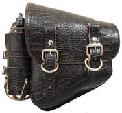 All Softail Models Left Side Solo Saddle Bag Black Alligator with detachable Fuel Bottle Holder