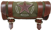 La Rosa Design Harley Chopper Bobber Universal Front Fork Tool Bag - Army Green Canvas with Brown Leather Star