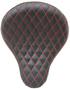 "Chopper Bobber  /Sportster/Softail/Dyna/Touring Bikes 16"" Eliminator Solo Seats Black with Red Thread Diamond Tuk"