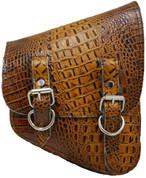 All H-D Softail Models Right Side Saddle Bag - Cognac Alligator