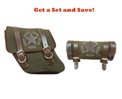 96-UP Harley-Davidson Dyna Wide Glide FXR Left Side Solo Saddle Bag and Tool Bag - Green Army Canvas w/ Brown Leather Star