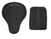 "La Rosa Harley Chopper Bobber Seat 16"" baSICK Solo Seat - Black with Black Alligator Inlay + Passenger Pad Combo"