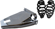 "1984-1999Harley-Davidson Softail Solo Seat Deluxe Conversion kit - 5"" Black Barrel Springs Chrome Cover&Bracket"