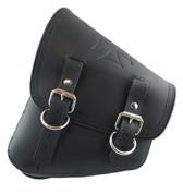 La Rosa Harley-Davidson All Softail Models Left Side Solo Saddle Bag   Swingarm Bag Black with Embossed Iron Cross Design