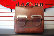 Flash Sale! All HD Softails Slim Line Leather Postal Bag - Antique Reddish Brown with Double Strap