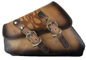 04-UP Harley-Davidson Sportster   Nightster 1200   Forty-Eight 72    Roadster XL Left Side Saddle Bag Swingarm Bag - Antique Tan with Embossed Flame