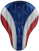 "Harley Chopper Bobber 16"" baSICK Leather Solo Seat American Spirit Metal Flake"