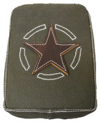 Universal Rear Passenger Pillion Pad - Green Army Canvas with Brown Leather Star