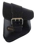 La Rosa Harley-Davidson All Softail Models Left Side Solo Saddle Bag   Swingarm Bag Black Ostrich Front Wide Strap