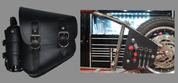 La Rosa Harley-Davidson All Softail Models Left Side Bolt-on Solo Saddle Bag   Swingarm Bag Black w/Fuel Bottle holder and Inside Tool Pouches