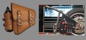 La Rosa Harley-Davidson All Softail Models Left Side Bolt-on Solo Saddle Bag    Swingarm Bag  Tan Plain with Fuel Bottle Holder and Handy Biker Tools