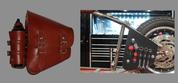 La Rosa Harley-Davidson All Softail Models Left Side Bolt-on Solo Saddle Bag  Swingarm Bag Shedron  w/Fuel Bottle holder and Inside Tool Pouches
