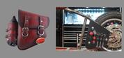 La Rosa Harley-Davidson All Softail Models Left Side Bolt-on Solo Saddle Bag   Swingarm Bag Antique Shedron  w/Fuel Bottle holder and Inside Tool Pouches