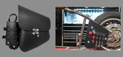 La Rosa Harley-Davidson All Softail Models Left Side Bolt-on Solo Saddle Bag   Swingarm Bag  Black Quick Release Buckle w/Fuel Bottle holder and Inside Tool Pouches
