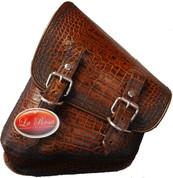 La Rosa Harley-Davidson All Softail and Rigid Frame Left Side Solo Saddle Bag Swingarm Bag  Antique Brown Alligator Skin