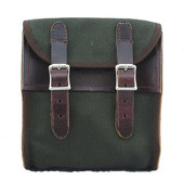 La Rosa Universal Leather Sissy Bar Bag - Green Canvas w/ Brown Leather