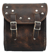 La Rosa Universal Leather Sissy Bar Bag - Rustic Brown with Rivets