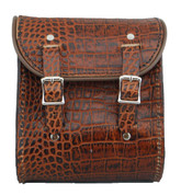 La Rosa Universal Leather Sissy Bar Bag - Brown Alligator
