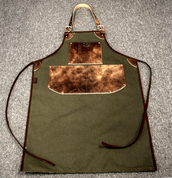 Bike Builder/Mechanic/Barber/Barista Canvas and Leather Apron-Army Green and Brown