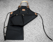 Bike Builder/Mechanic/Barber/Barista Canvas and Leather Apron-Black  Split Legs