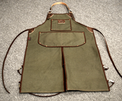 Bike Builder/Mechanic/Barber/Barista Canvas and Leather Apron-Green Army Canvas Split Legs