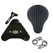 Harley Sportster /Nightster/Iron 883/1200XL Vinyl Solo Seat with Mount Kit - Black with White Thread Tuk N Roll