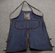 Bike Builder/Mechanic/Barber/Barista Apron Blue Denim with Leather Pouch Split Legs