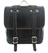 All HD Softails claSICK Leather Postal Bag - Black Alligator