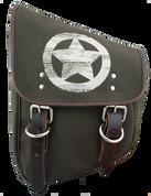 La Rosa Harley-Davidson  All HD Softail Eliminator Canvas Softail Left Side Saddle Bag   Swingarm Bag -Green Canvas Army Star