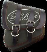 La Rosa Harley-Davidson All HD Softail Canvas Softail Left Side Saddle Bag  Swingarm Bag - Green Canvas La Rosa Logo