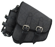 H-D All Softail and Rigid Frames Left Side Saddle Bag Swingarm Bag with Fuel Bottle Holder - Black Denim