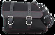 82-03 Harley-Davidson XL Sportster Left Side Solo Saddle Bag - Black Canvas with Fuel Bottle Rea Thread