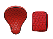 La Rosa Harley Chopper Bobber /Sportster/Softail/Dyna/Touring Bikes Seat + Passenger Pad Combo  - Red w/Black Accents