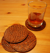 La Rosa Leather Coaster Set - 4PCS Brown Alligator Round