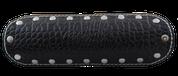 "La Rosa Design Universal Muffler Heat Shield - 9"" Black Alligator with White Thread"