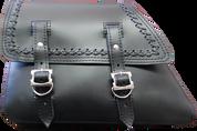 82-03 Harley-Davidson Sportster Saddle Bag - Black Leather w/ Cross Laced