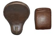 "16"" baSICK Solo Seat & Pillion Pad Combo- Rustic Brown Plain"