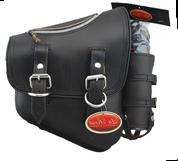 La Rosa Harley-Davidson All Softail Models Right Side Solo Saddle Bag   Swingarm Bag  Rustic Black Leather with Zipper and Fuel Bottle Holder