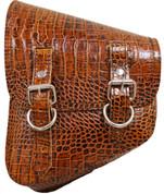 La Rosa Harley-Davidson All Softail Models Left Side Solo Saddle Bag  Swingarm Bag  Brown Alligator Skin