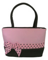 Pink and Brown Purse with Polka Dot Ribbon