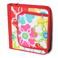 Monogrammed Bright Bloom Dot 3 Ring Binder Case