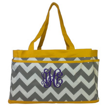Personalized Chevron Print Utility Bag with Vine Monogram using Purple Thread.