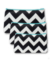 Black Chevron Print 3pc Cosmetic Case with Turquoise Zipper