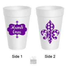 Mardi Gras Argyle Fleur De Lis Styrofoam Cups