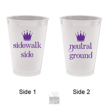 Mardi Gras Neutral Ground and Sidewalk Side Frost Flex Plastic Cups
