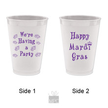 Mardi Gras We're Having a Party Frost Flex Plastic Cups