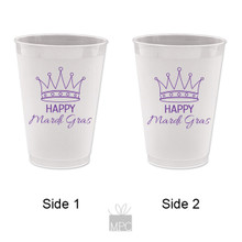 Mardi Gras Frost Flex Plastic Cup - Happy Mardi Gras Crown - 16 oz - 10 ct. MG30